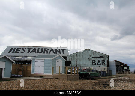 Whitstable, Kent / England - March 31 2018: Rooftop signs to the Lobster Shack in Whitstable on a cloudy Easter Bank Holiday weekend - Stock Photo
