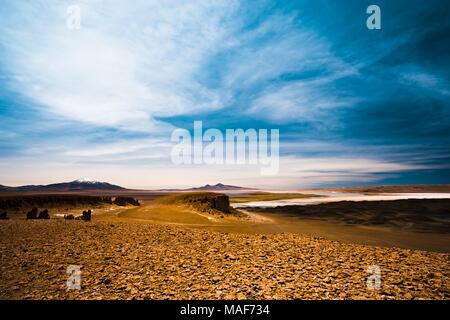 Salar de Tara in Chile, a tyical altiplano salt lake in the dry Atacama region - Stock Photo