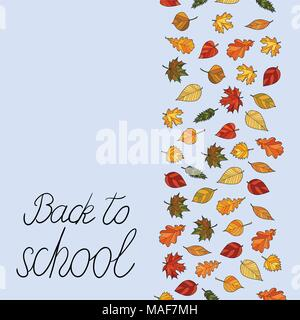 abstract vector doodle autumn leaves background - back to school - Stock Photo