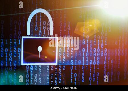 colorful binary code and padlock symbol. internet password and data privacy. cyber security concept. - Stock Photo