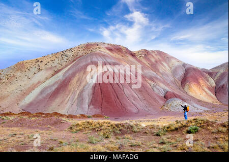 The most beautiful colorful mountain and spectacular blue sky in Tabriz Iran.Similar colourful mountains in China and Peru. - Stock Photo