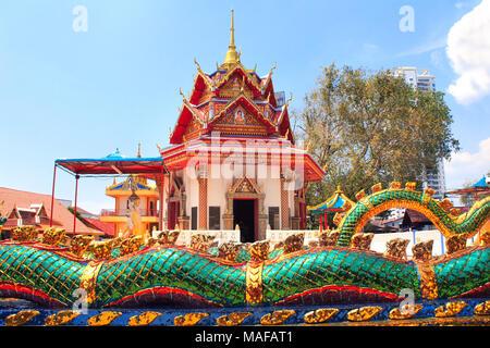 Pavilion in Pulau Tikus, thai Buddhist temple (Wat Chayamangkalaram), Georgetown, Penang island, Malaysia - Stock Photo