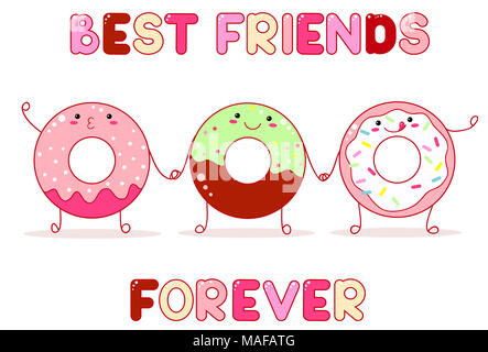 Three cute donut in kawaii style with smiling face and pink cheeks for sweet design. Inscription Best friends forever. EPS8 - Stock Photo