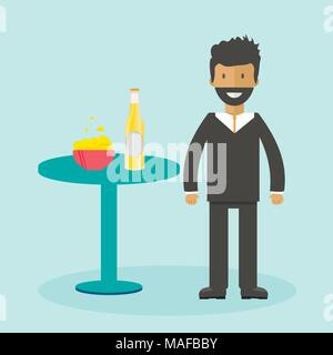 Man with beer bottle, mugs and glasses. Vector icon with alcoholic beverages. Wheat beer, lager, craft beer, ale. - Stock Photo