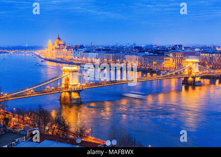 Budapest, Hungary. Panoramic view with the Chain Bridge and the Parliament. - Stock Photo