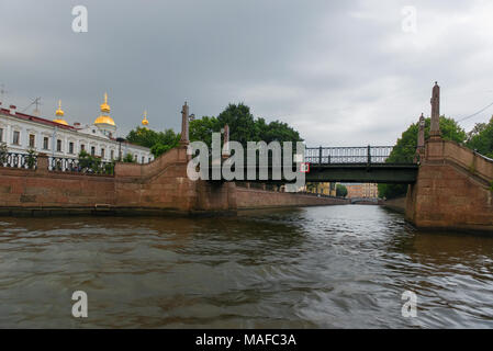 RUSSIA, SAINT PETERSBURG - AUGUST 18, 2017: View of St. Nicholas Naval Cathedral from the Pikalov bridge - Stock Photo