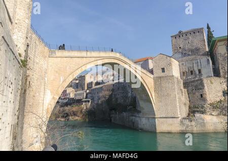Stari Most (Old Bridge) panaroma landscape city of Mostar in Bosnia - Stock Photo