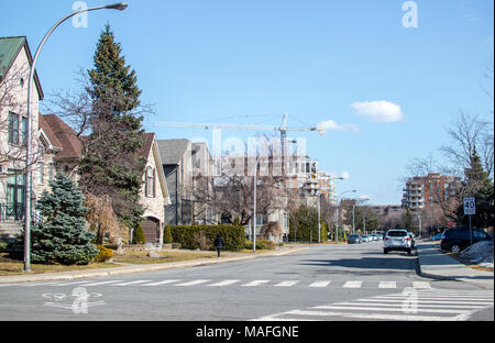 Modern condo buildings and houses in Montreal, Canada - Stock Photo