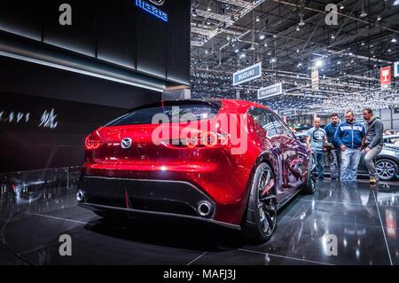 GENEVA, SWITZERLAND - MARCH 17, 2018: MAZDA KAI CONCEPT   Superfast sports car presented at the 88th Geneva International Motor Show. - Stock Photo