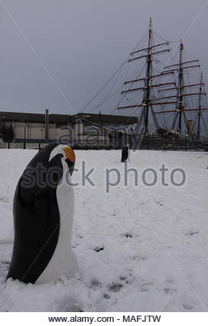 Penguin statues outside Discovery Point visitors centre in winter with snow Dundee Scotland  February 2009 - Stock Photo