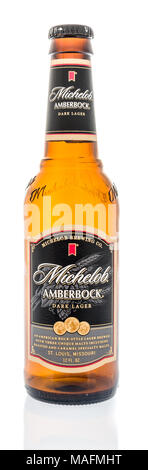 Winneconne, WI - 30 March 2018:  A single bottle of Michelob amberbock beer on an isolated background. - Stock Photo