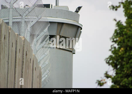 Watchtower on the Separation Wall between the occupied palestinian territory's in the West Bank or Gaza and Israel - Stock Photo