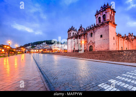 Cusco, Peru - Plaza de Armas and Catedral del Cuzco. Andes Mountains, South America. - Stock Photo