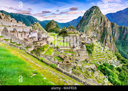 Machu Picchu in Peru - Ruins of Inca Empire city and Huaynapicchu Mountain in Sacred Valley, Cusco, South America. - Stock Photo