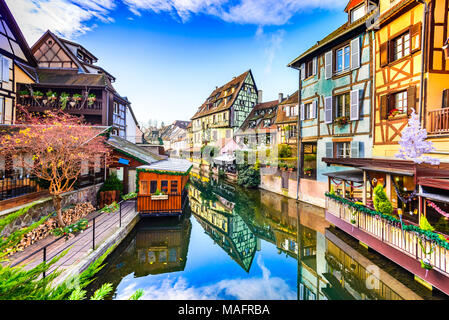 Colmar, Alsace, France. Gingerbread houses at Petite Venise. Christmas decoration of local craftsmen, famous in Europe. - Stock Photo