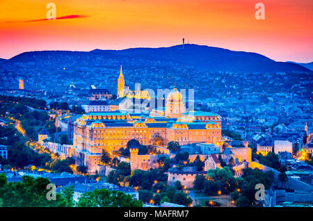 Budapest, Hungary. Buda Castle, seen from Gellert Hill in Magyar capital city. - Stock Photo
