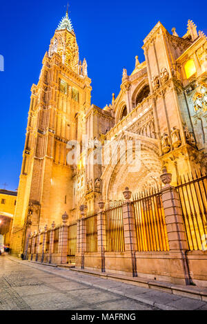 Toledo, Spain. Catedral Primada, Mudejar gothic style (1226) in Castilla la Mancha. - Stock Photo