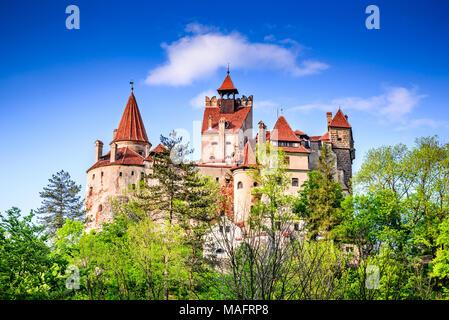 Dracula Castle, Bran, Romania. Stunning spring image of Vlad the Impaler citadel in Brasov, Transylvania, Eastern Europe. - Stock Photo