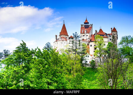 Bran Castle, Romania. Stunning spring image of Dracula Castle in Brasov, Transylvania, Eastern Europe. - Stock Photo