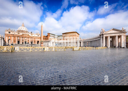 Rome, Italy. Saint Peter Basilica, Vatican, main religious Catholic Church, Holy See and Pope residence. - Stock Photo