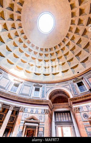 Rome, Italy. Pantheon, ancient architecture of Rome, Lazio, dating from Roman Empire. - Stock Photo