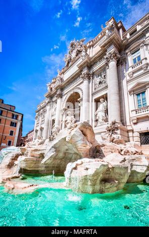 Rome, Italy. Famous Trevi Fountain and Palazzo Poli (Italian: Fontana di Trevi) in italian city of Roma. - Stock Photo