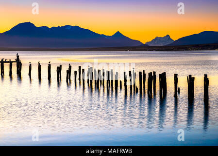 Puerto Natales, Chile - Gulf Almirante Montt, the Pacific Ocean waters in Chielan Patagonia, Magallanes Region. - Stock Photo