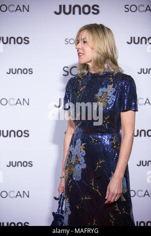 Vancouver, CANADA. 24th March, 2018. Diana Krall on the red carpet at the 2018 Juno Awards gala in Vancouver. Credit: Bobby Singh/@fohphoto - Stock Photo