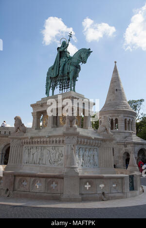 Fisherman's Bastion is a terrace in neo-Gothic and neo-Romanesque style situated on the Buda bank of the Danube, on the Castle hill in Budapest. - Stock Photo
