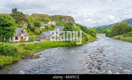 Scenic sight in Poolewe, small village in Wester Ross in the North West Highlands of Scotland. - Stock Photo