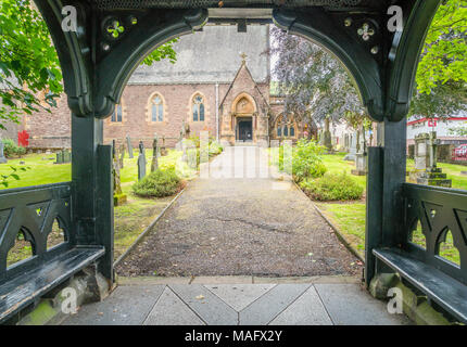Wooden porch entrance to Saint Andrew's Church in Fort William, Scotland. - Stock Photo