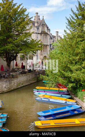 Moored punts on the river Cherwell in Oxford, Oxfordshire, South East England, UK - Stock Photo