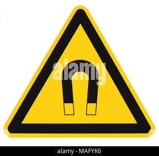 Strong Magnetic Field Warning Sign Isolated Label, Hazard Safety Caution Attention Danger Risk Concept, Yellow Black Notice Vertical Adhesive Triangle - Stock Photo
