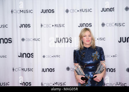 Vancouver, CANADA. 24th March, 2018.  Jazz singer Diana Krall poses backstage with her two Juno Awards. - Stock Photo