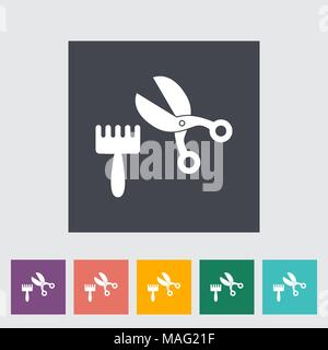Scissors and comb icon. Flat vector related icon for web and mobile applications. It can be used as - logo, pictogram, icon, infographic element. Vect - Stock Photo