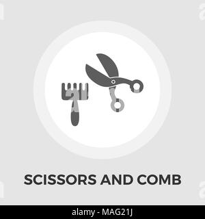 Scissors and comb icon vector. Flat icon isolated on the white background. Editable EPS file. Vector illustration. - Stock Photo