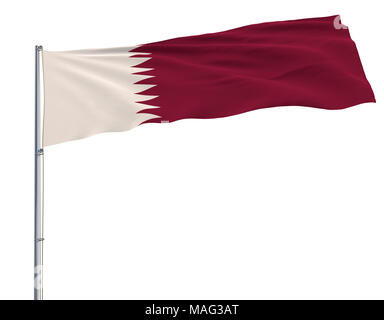 Isolate flag of Qatar on a flagpole fluttering in the wind on a white background, 3d rendering - Stock Photo