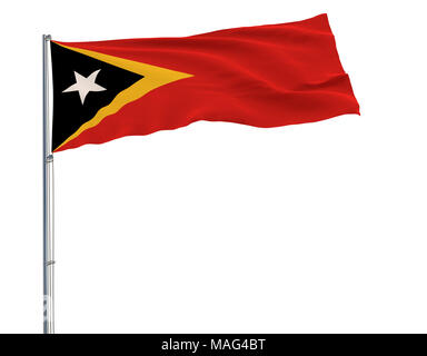 Flag of Democratic Republic of Timor-Leste on the flagpole fluttering in the wind on a white background, 3d rendering - Stock Photo
