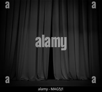 Black curtain background open a little bit - Stock Photo