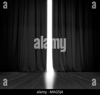 Black curtain background with bright light behind - Stock Photo
