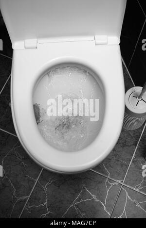 Closeup view of a flushing white toilet. The water swirls in the toilet bowl. - Stock Photo