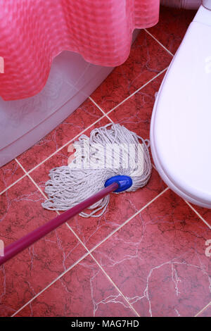 Cleaning in the bathroom and toilet. Washing of floors. - Stock Photo