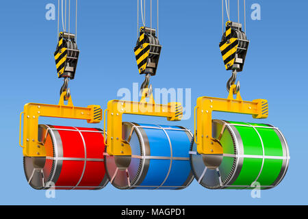 Crane hooks with galvanized steel sheet with polymer coating in coils, 3D rendering - Stock Photo