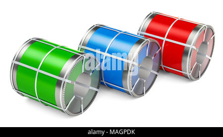 Galvanized steel sheet with polymer coating in coils, 3D rendering isolated on white background - Stock Photo