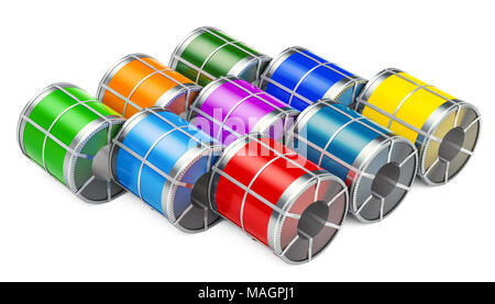 Stock of galvanized steel sheet with polymer coating in coils, 3D rendering isolated on white background - Stock Photo