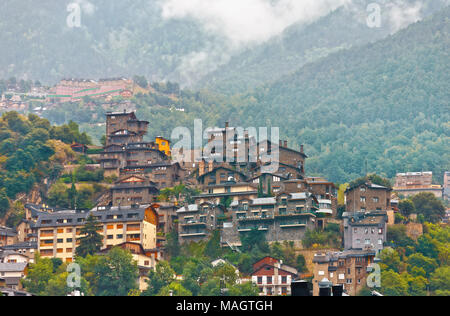 Scenic uptown in mountainous district of capital city Andorra la Vella. Andorra - Stock Photo