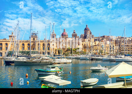 View of Vittoriosa Harbour and St. Lawrence's Church in Valletta. Malta, Europe - Stock Photo