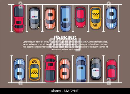 Parking Space Top View With Set Of Colorful Cars, Park Zone Background - Stock Photo