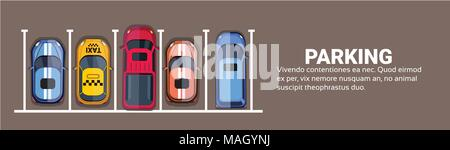Top View Of City Parking Lots With Set Of Different Cars, Park Zone Horizontal Banner With Copy Space - Stock Photo