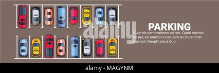 Parking Space Top View With Set Of Colorful Cars, Park Zone Horizontal Banner With Copy Space - Stock Photo
